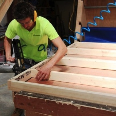 nailing a timber frame together